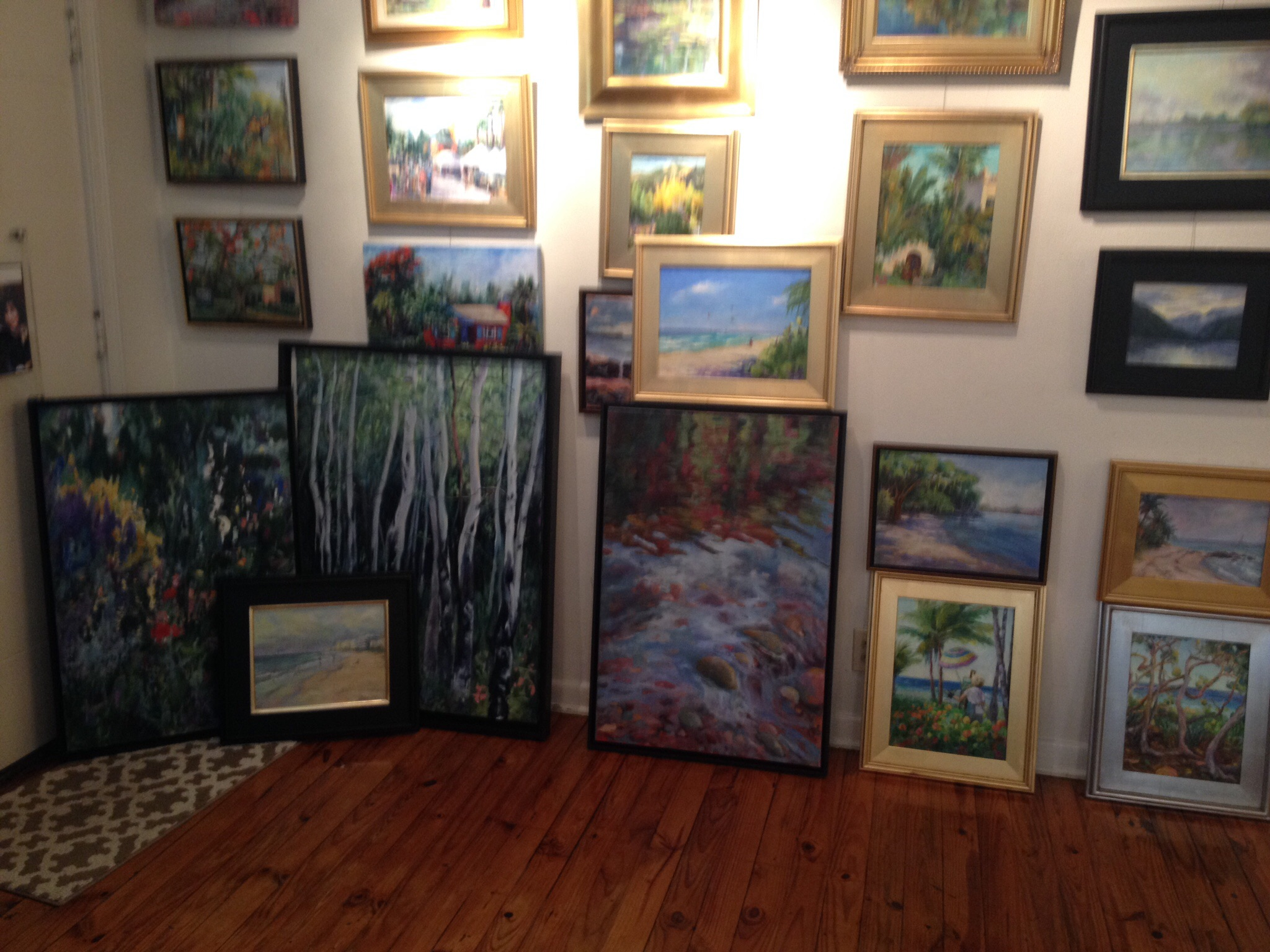 Painting lined to leave my studio, headed to various shows.