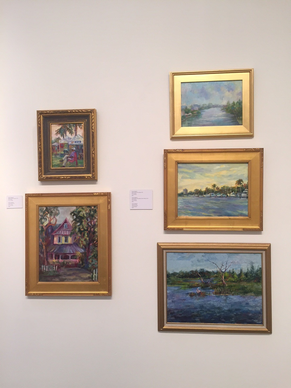Some of my paintings at the Made In Delray show - Cultural Council