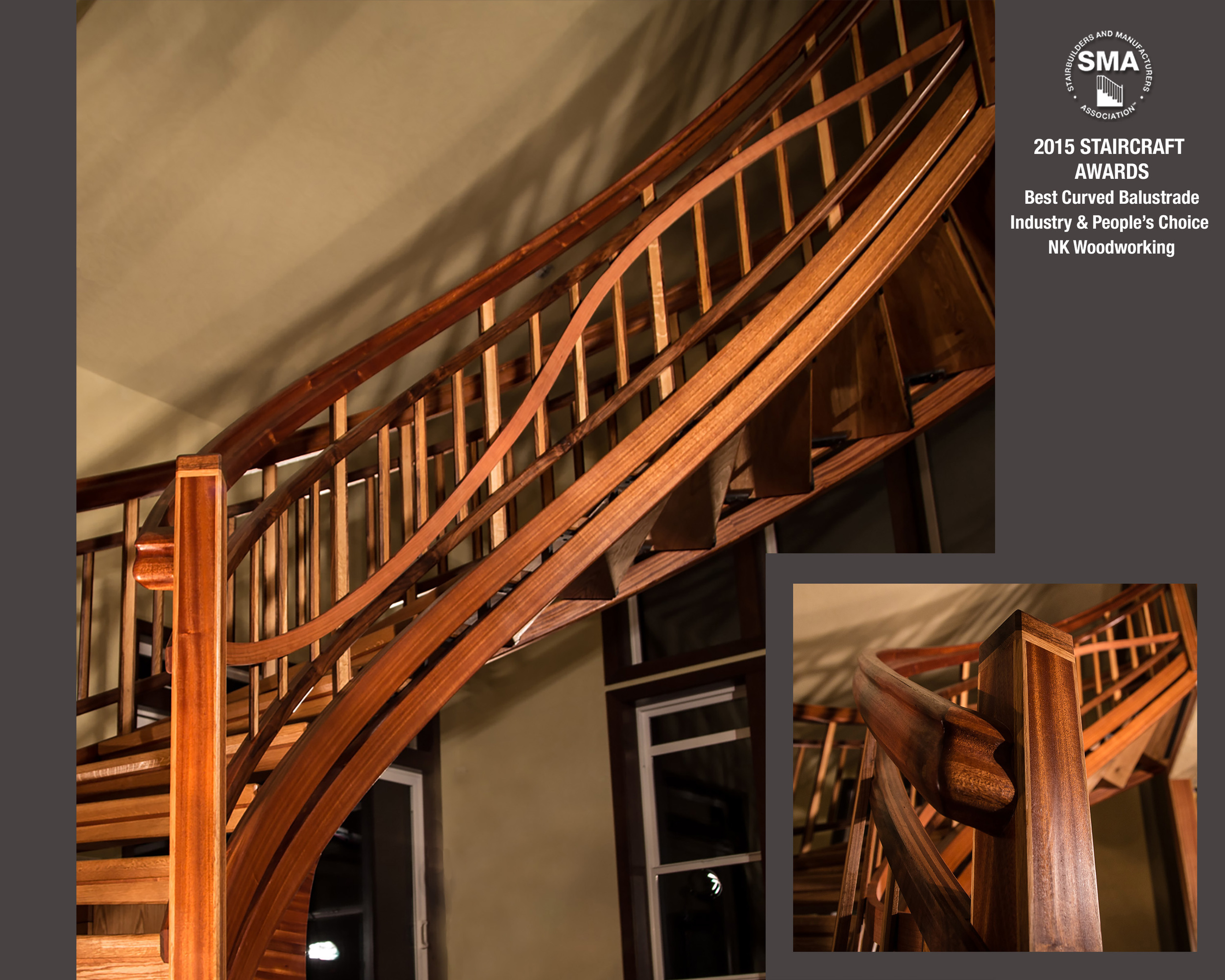 SMA Winner:  NK Woodworking's Best Curved Balustrade - Harmony  - Winning both   Industry and People's Choice Awards