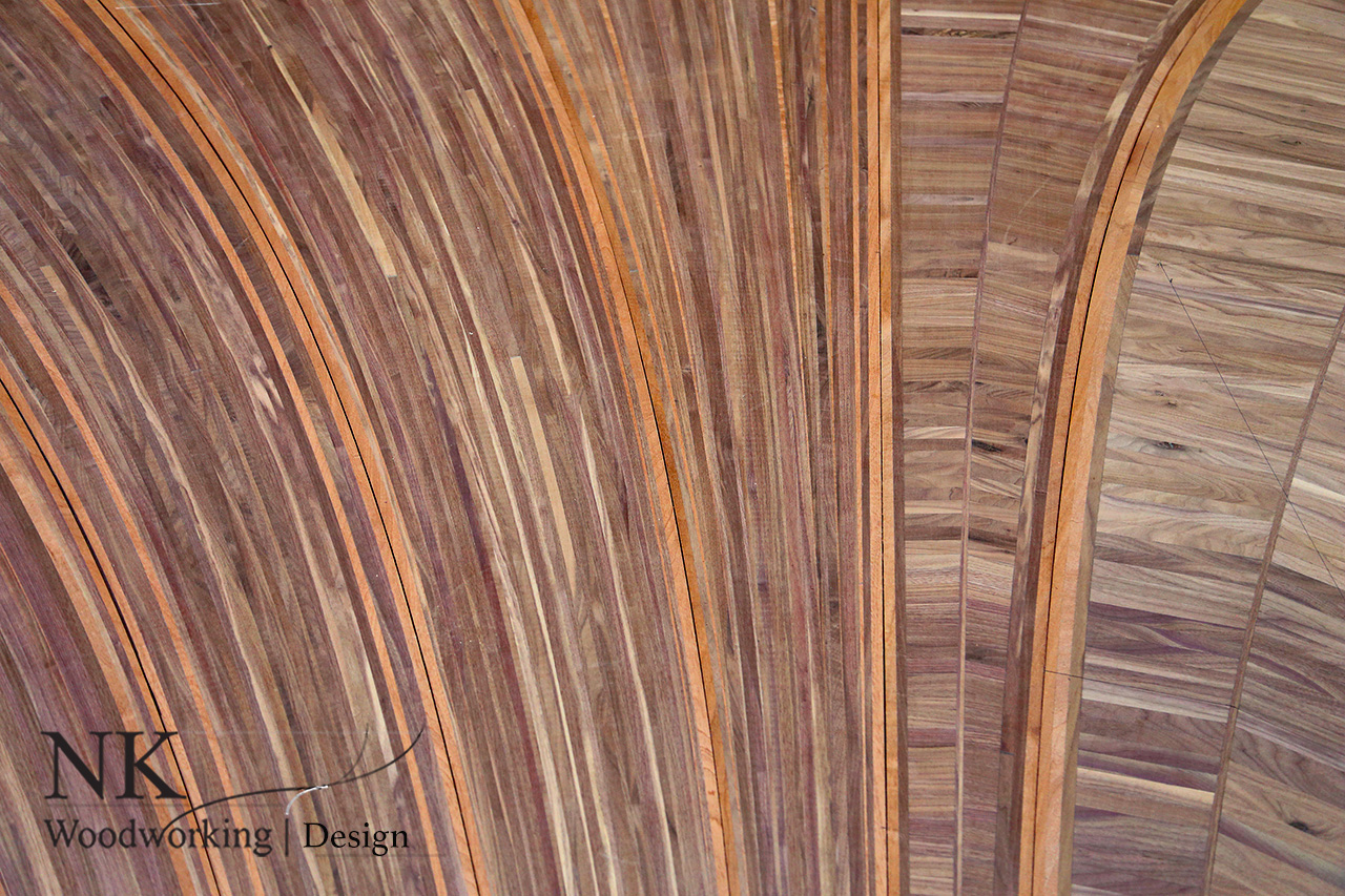 Close up of a Custom Walnut Floor Pattern by Nathie Katzoff of NK Woodworking & Design