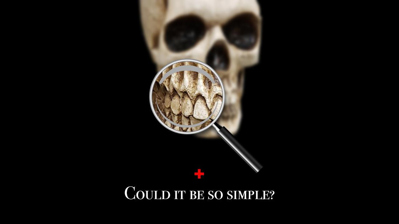 I've used a magnifying glass in a significant number of hero images for articles over the past several years. Here it's used to show that, while there's a whole skull there, we want to concentrate on the teeth. It can be simple - very simple.