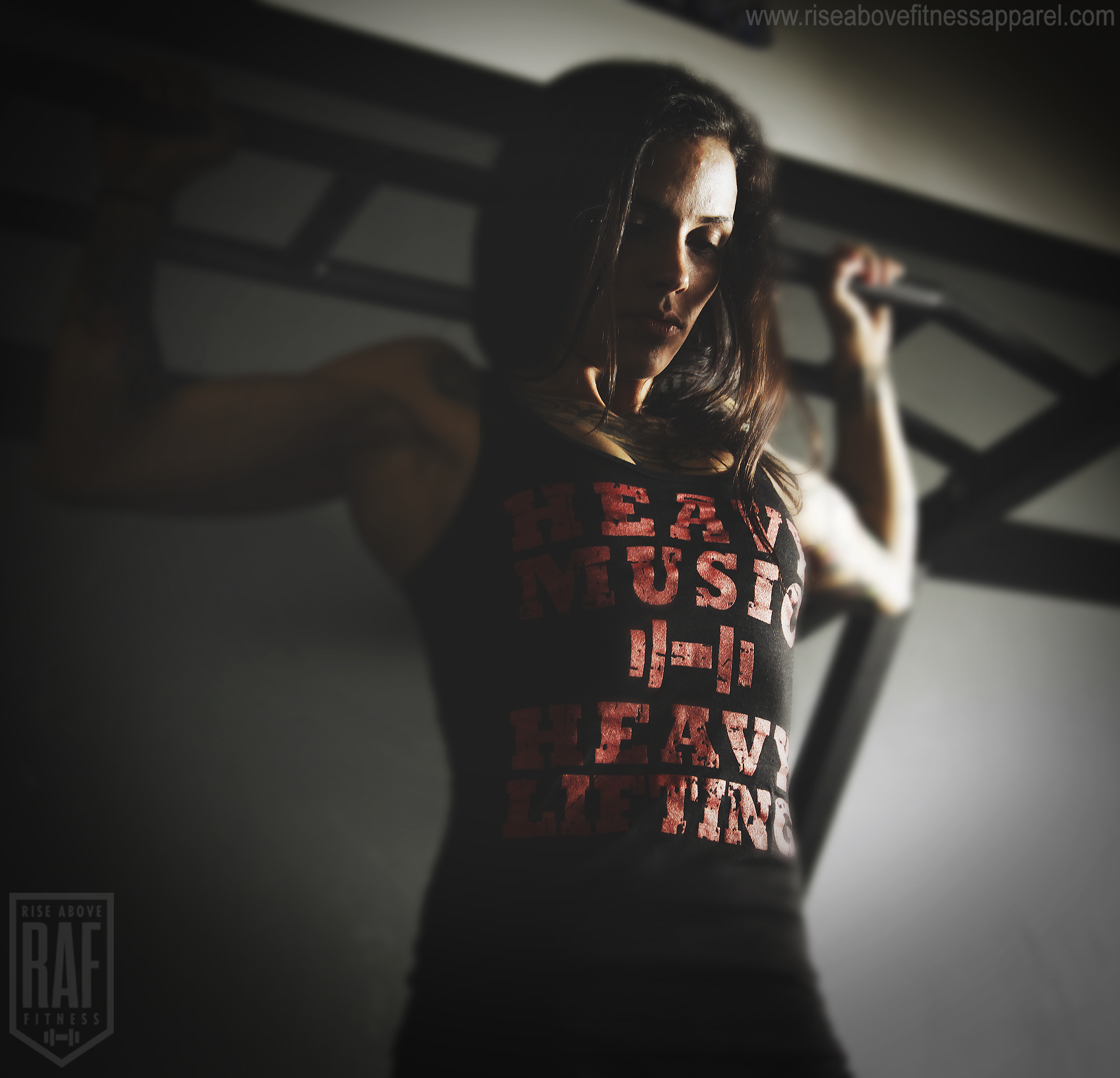 HEAVY MUSIC Women's Racerback (Red on Black)_SHOOT.jpg