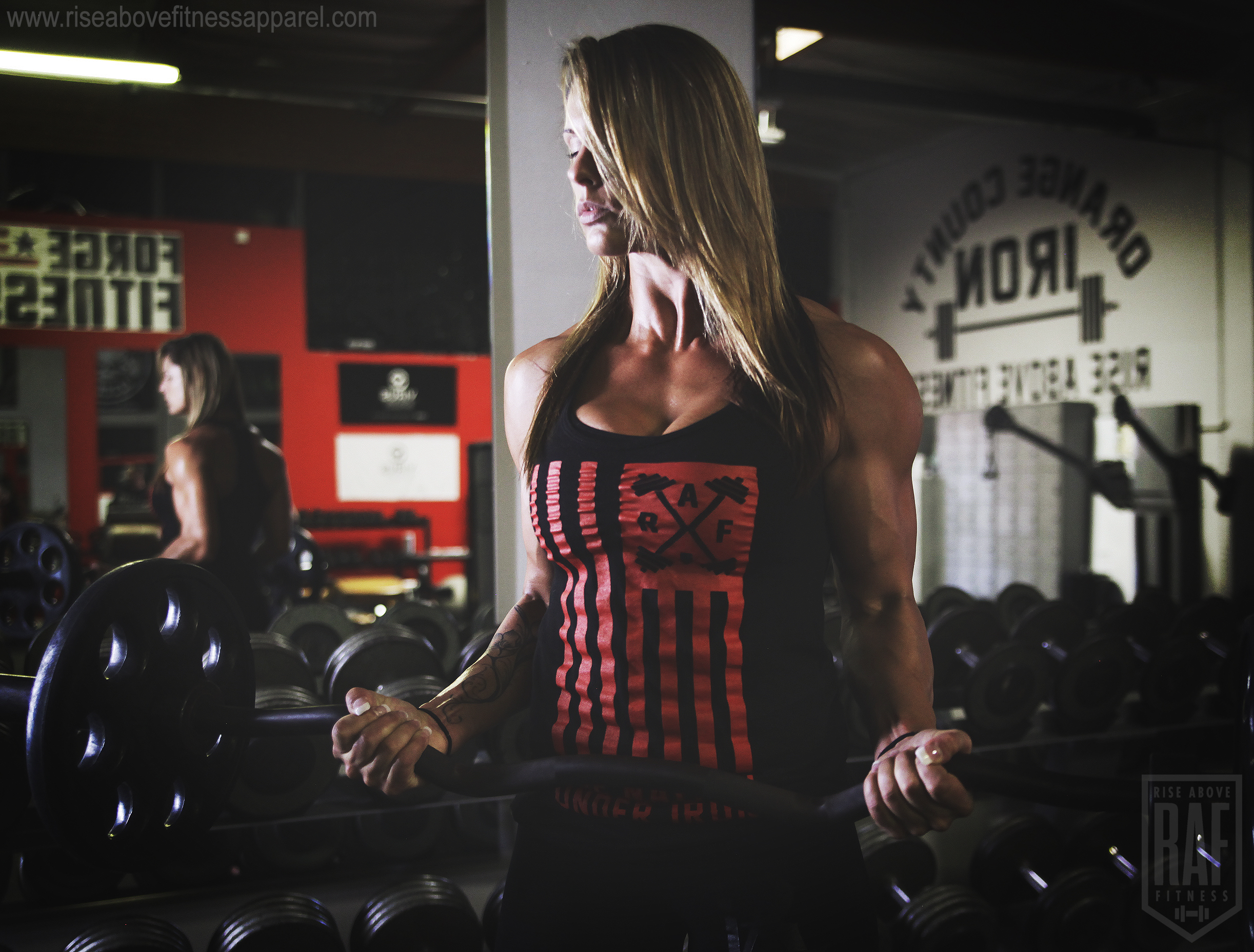 ONE NATION Women's Racerback (Red on Black)_SHOOT.jpg