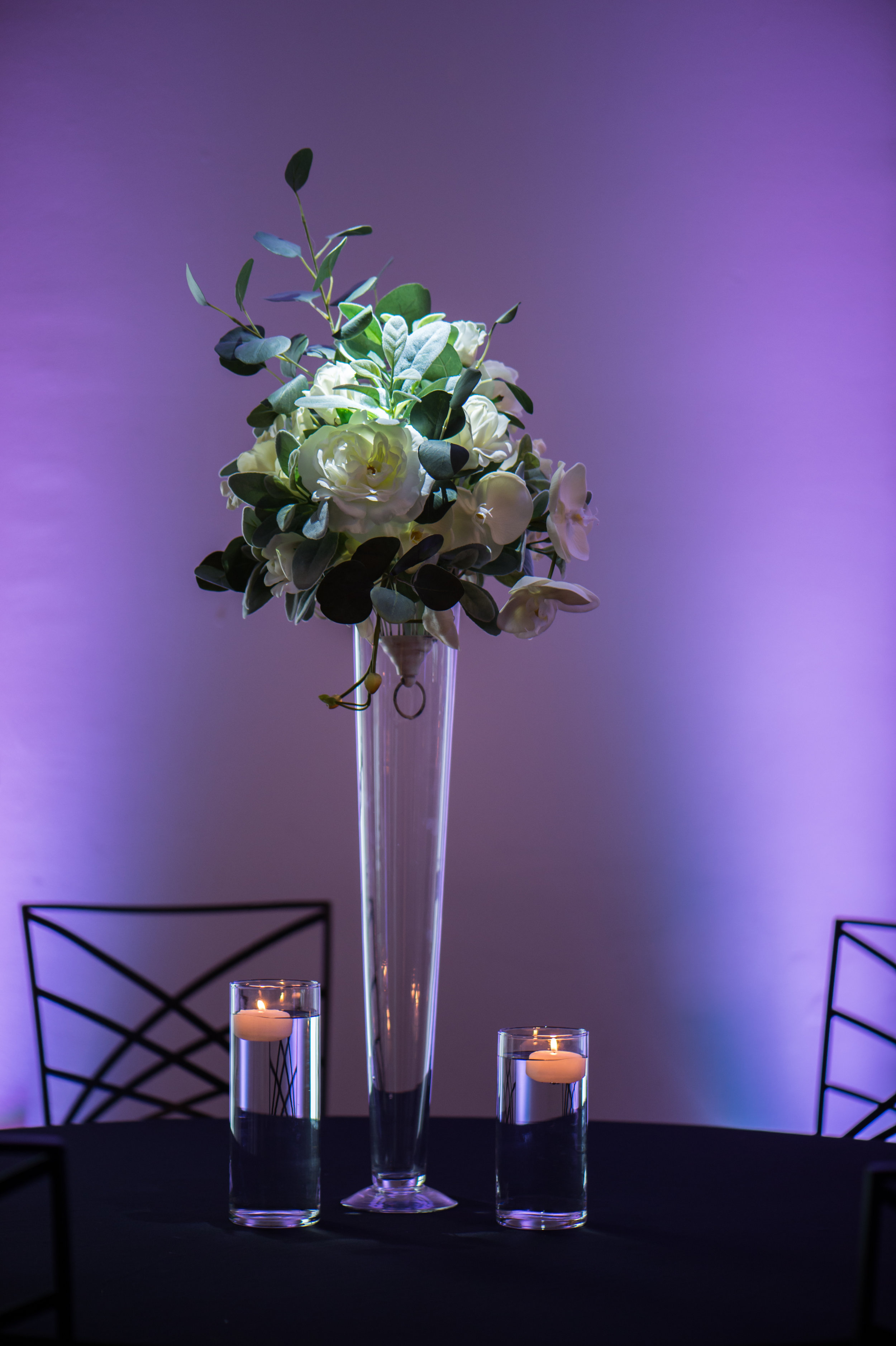 Tall White with Eucalyptus Floating Candles.jpg