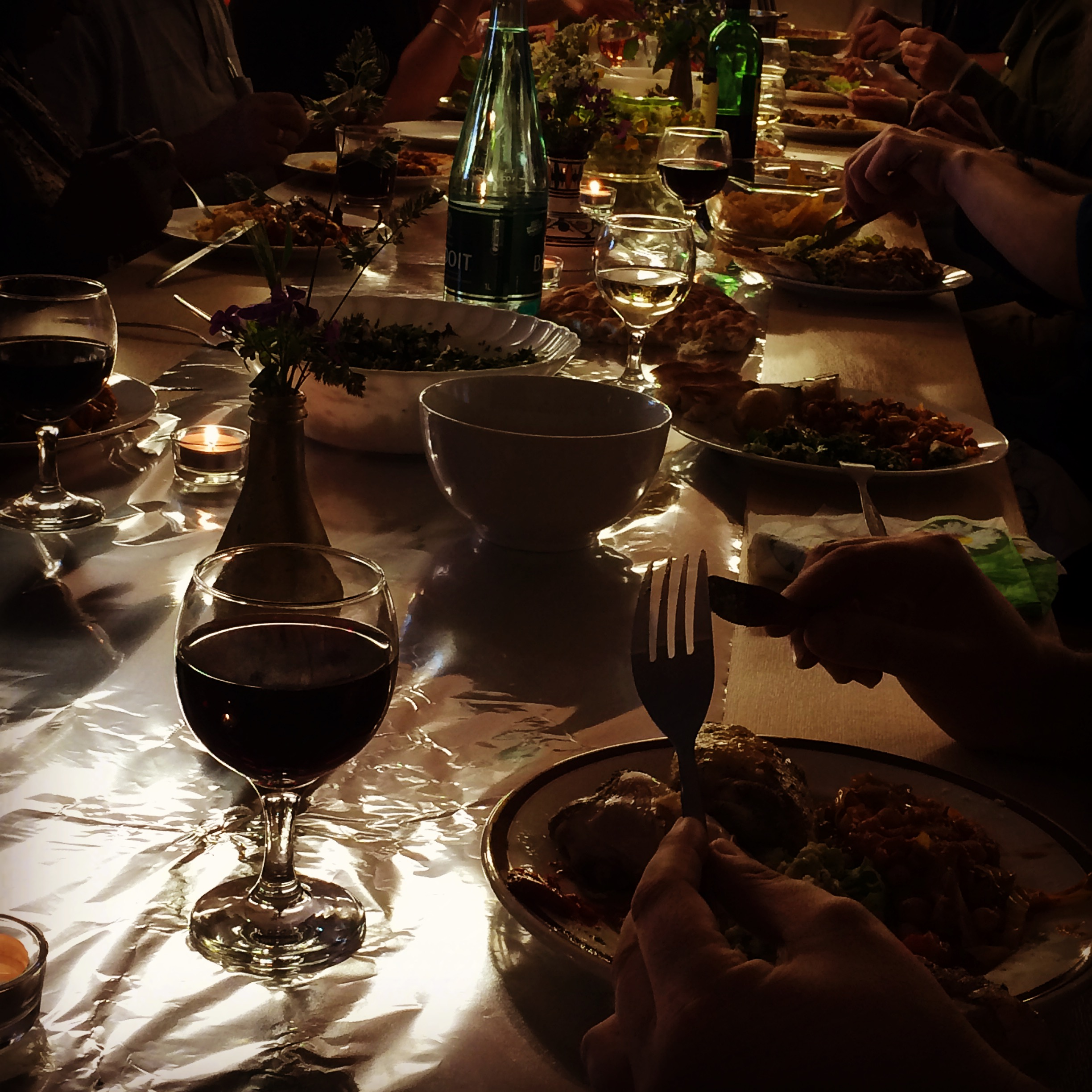 Dinner at the Carey Estate for residents, cooked by the artists, part of the drawing shed's Some[W]here in 9 Elms, Wandsworth project, May 2015