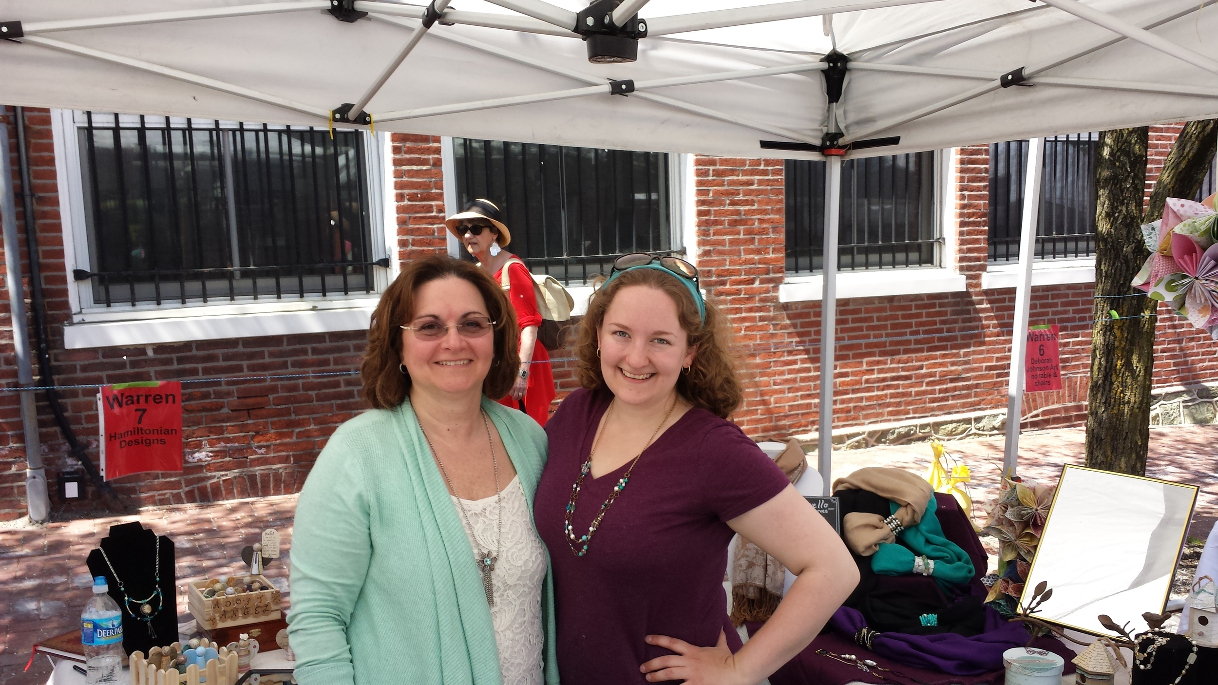 Me and my mom (and some random lady in a hat) in the Hamiltonian Designs tent at the Malvern Blooms Festival, 2015