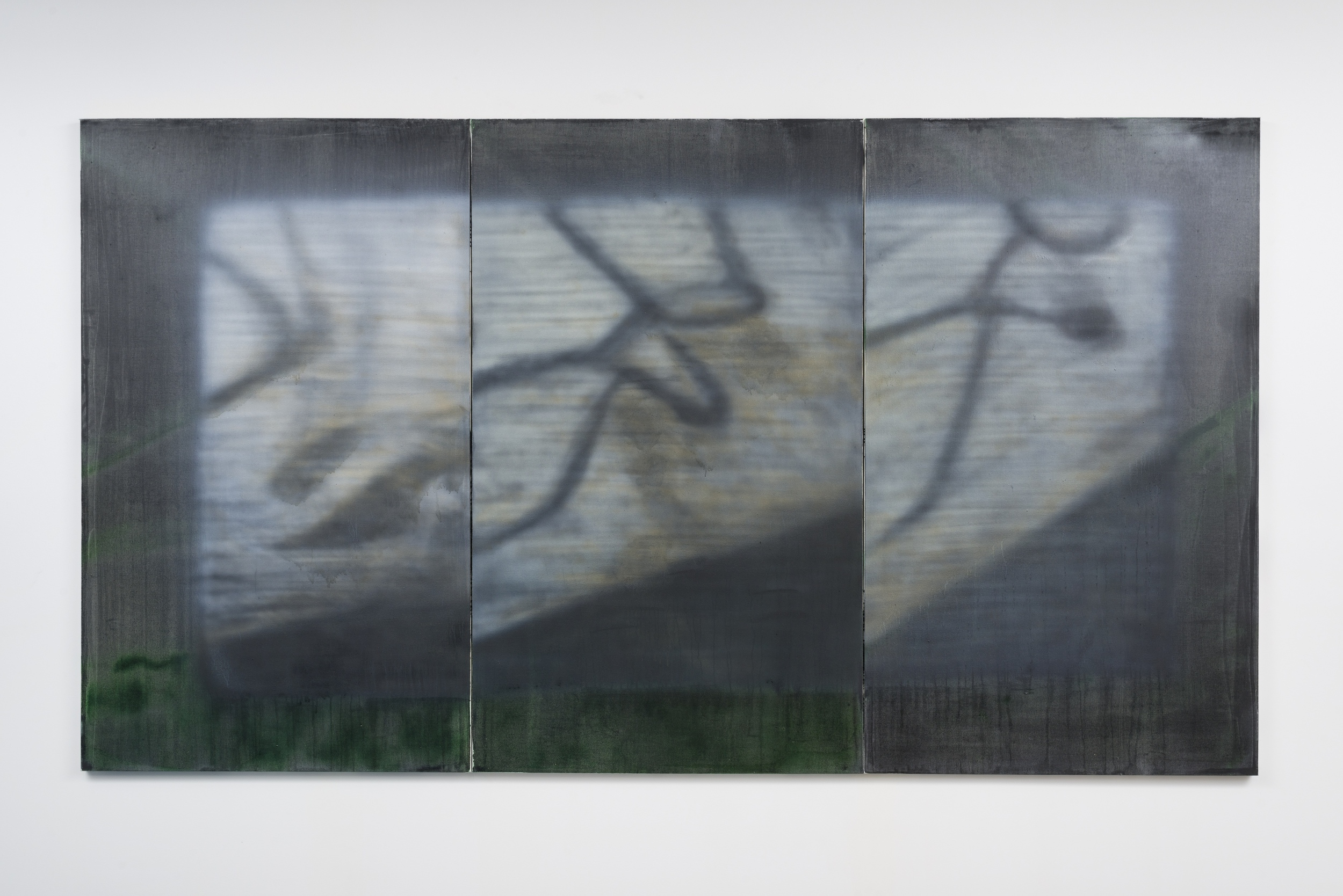 Jason Burgess,  runoff weight waiting line, oil and enamel on canvas,  60 x 108 inches