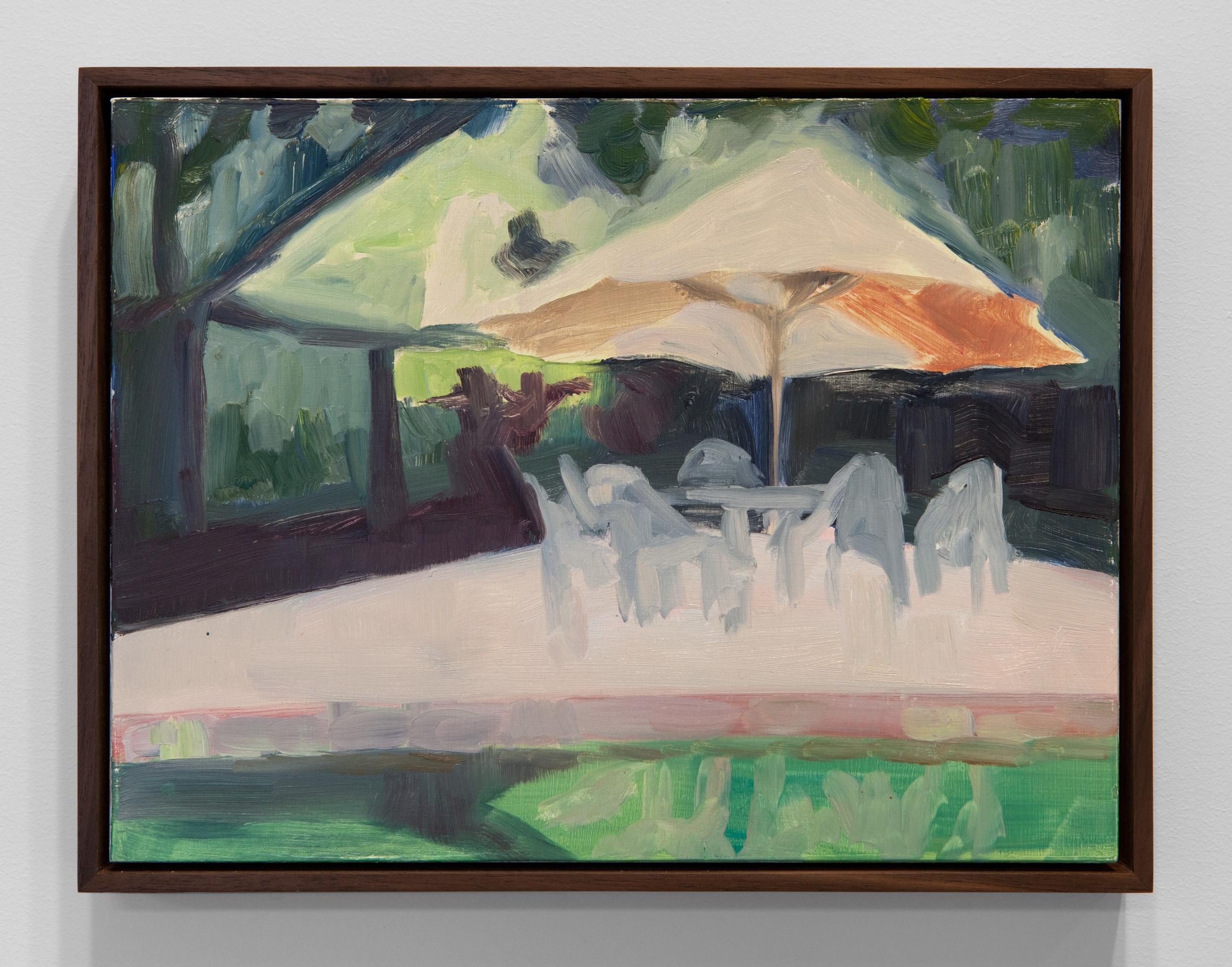 """Erica Mahinay, Pooli  (evening/July 2013), Oil on Panel, Iroko Frame, 10"""" x 12 3/4"""""""