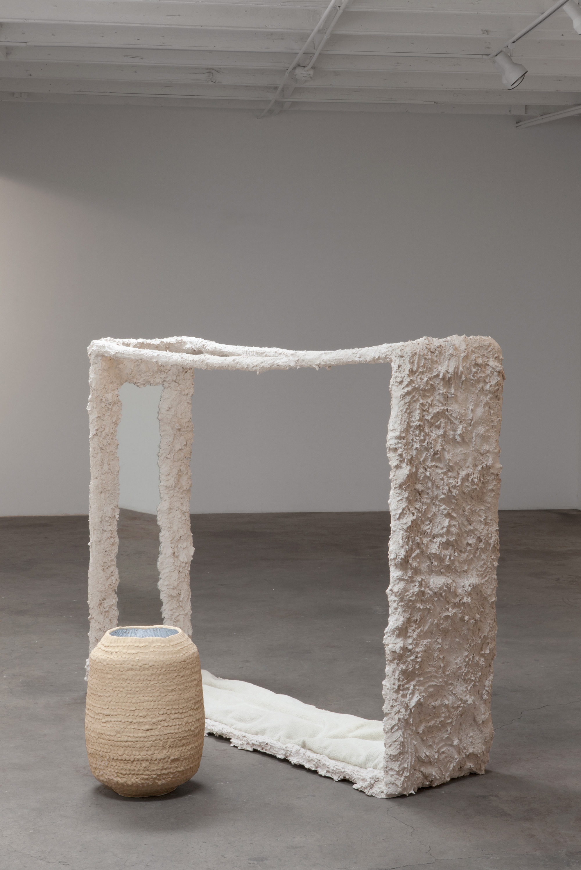 "Kathryn O'Halloran, Infinite Solitude, 2015, plaster, mirror, towel cushion, stoneware, 69"" x 40"" x 55"""