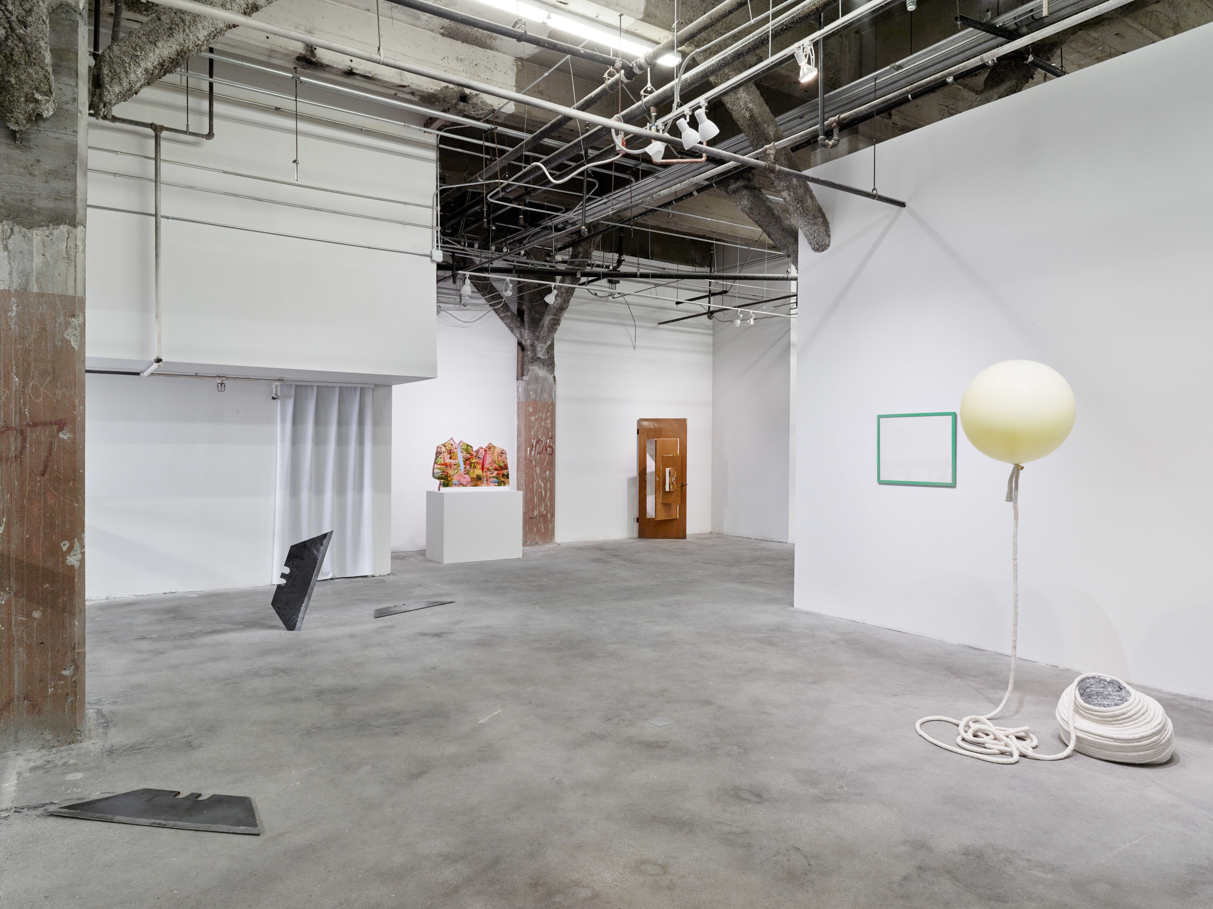 Installation view:   Flat Foldability  . From left to right: Joshua Callaghan, Anna Elise Johnson, Joshaua Callaghan, Guy de Cointet, Kathryn O'Halloran.