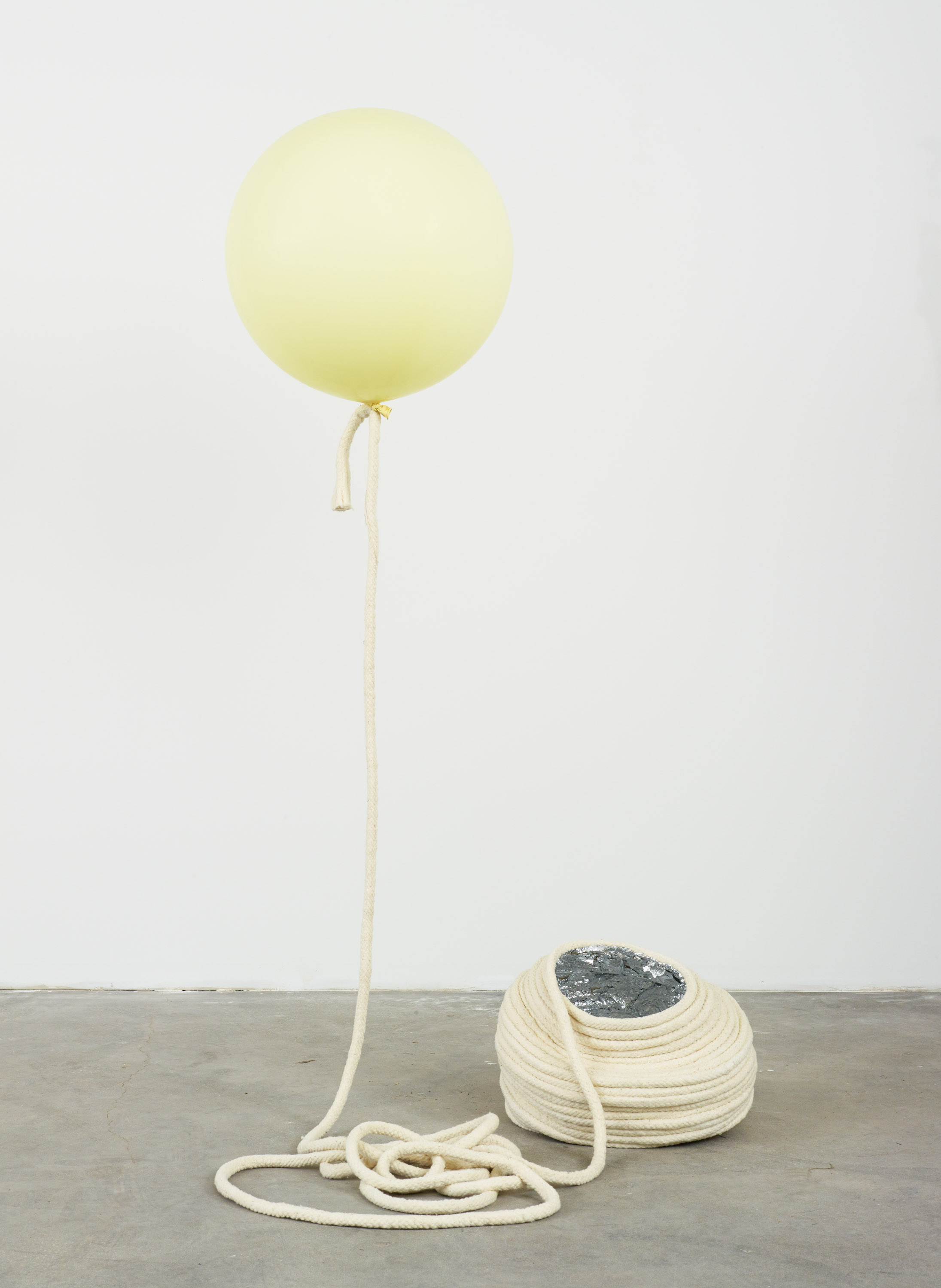 Kathryn O'Halloran  ,    Self portrait from March 2016   , 2016. Wool/cotton trim, aliminium leaf, balloon, helium, 77 x 40 x 38 inches.