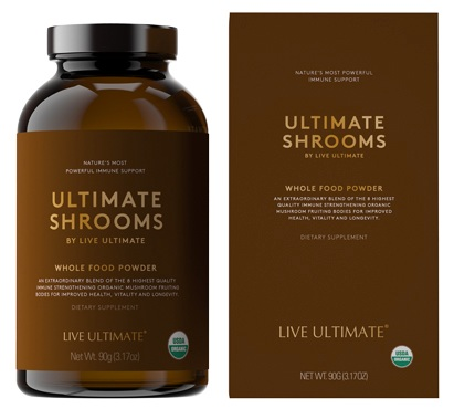 Defense•Immune Support •Adaptogenic•Longevity - Ultimate Shrooms is an extraordinary blend of the 8 highest quality immune strengthening organic mushroom fruiting bodies to boost your body's defenses, brain function and natural energy levels without caffeine. #GetShroomed for peak performance and ultimate health!Cordyceps, Reishi, Chaga, Lion's Mane, Turkey Tail, Maitake, Shiitake and Oyster. These 8 legendary and healing organic mushrooms are carefully sourced from around the world for their quality and potency.