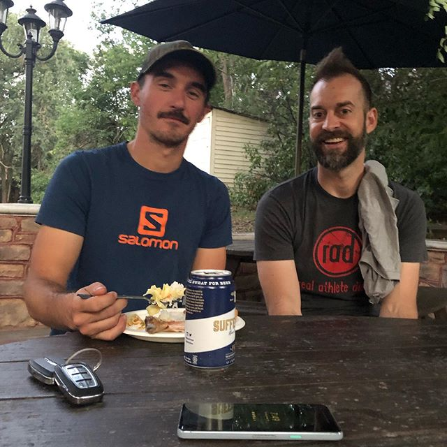 Bromance over here at house one! The last supper before the big race tomorrow. It's safe to say a few of us are brain fried and a little slap happy, but still having a blast. Nighty night racers!  See you bright and early. #rad #radboulder #doepicshit #feedyoursoul #enduranceathletes #mountainrunning #goldenraceseries #pikespeakmarathon #timetoplay #ColoRADo