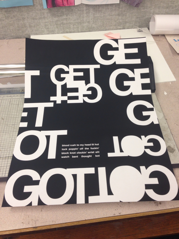 "An assignment to typographically represent song lyrics  ""Get Got"" by Death Grips"