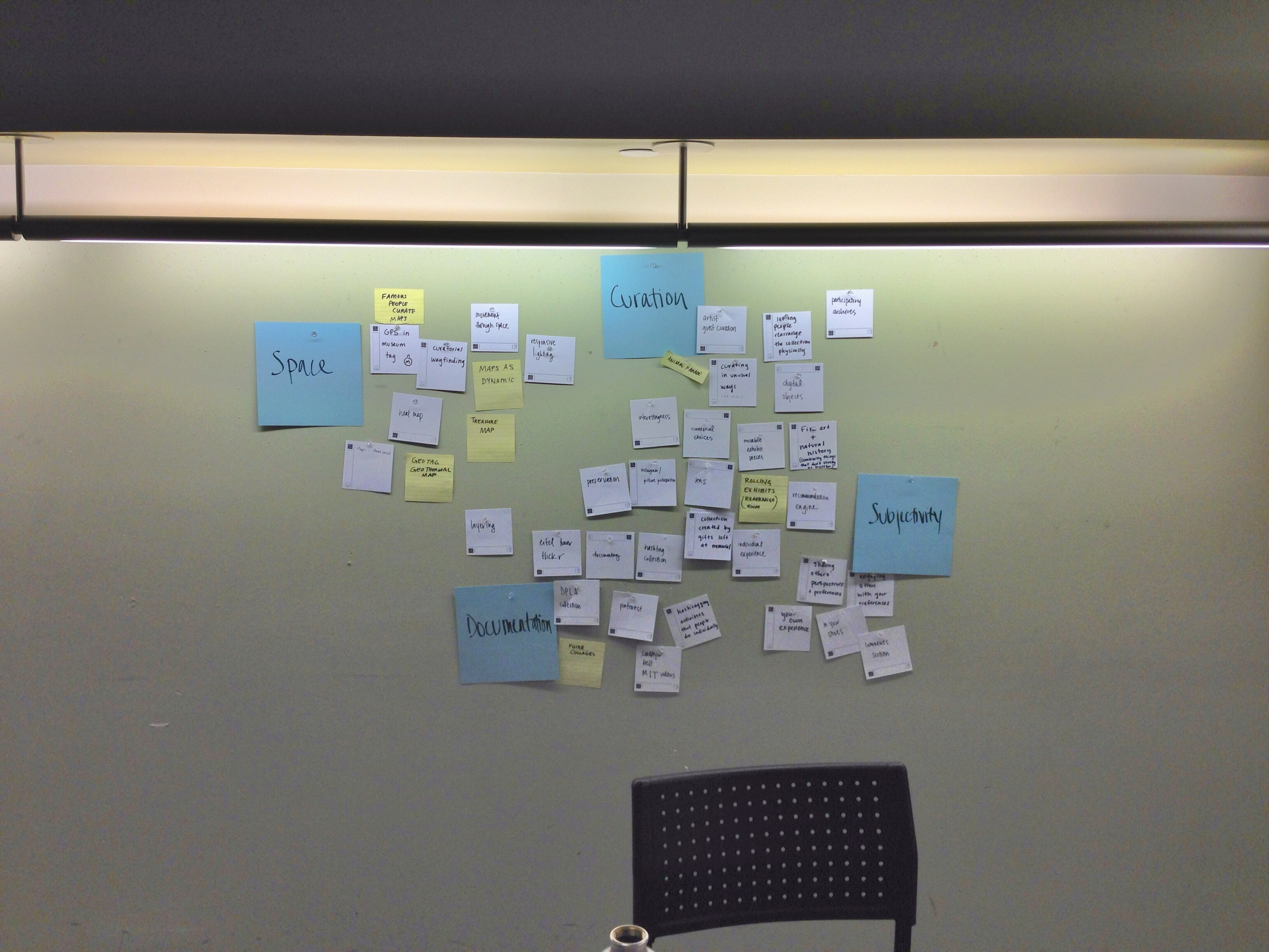 Brainstorming cards organized and thematically categorized after with blue cards - one step in the design process.