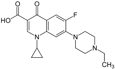 Molecular structure of the antibiotic enroflaxcin.