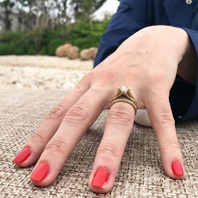 I love seeing my rings again - I do suffer from separation anxiety after each delivery. It's also amazing that they become vehicles of friendship with my clients. 🖤 // #RotemRing #oldeuropeancut #18kgold #madeinnyc