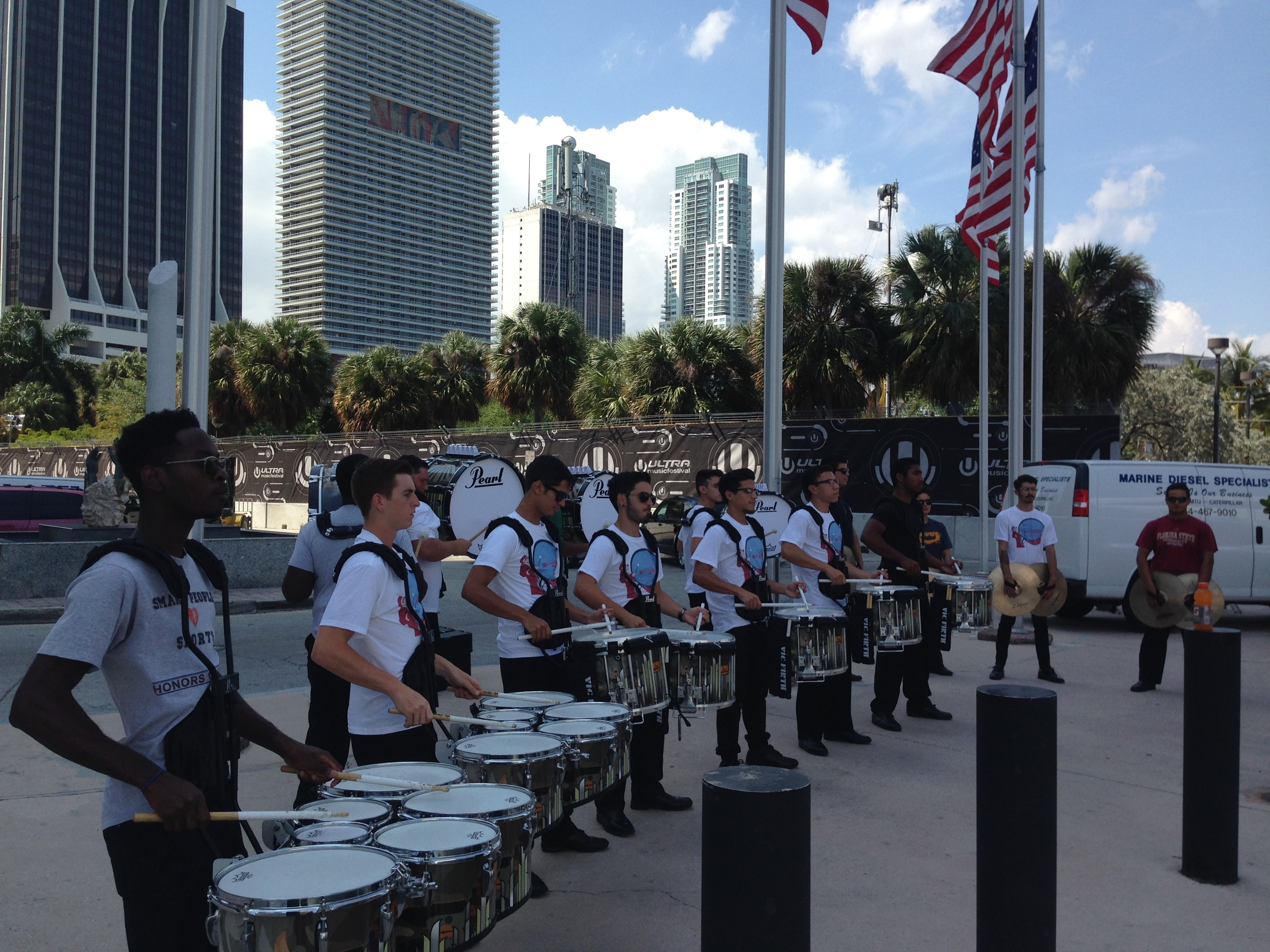 Warming up before the show in Downtown Miami