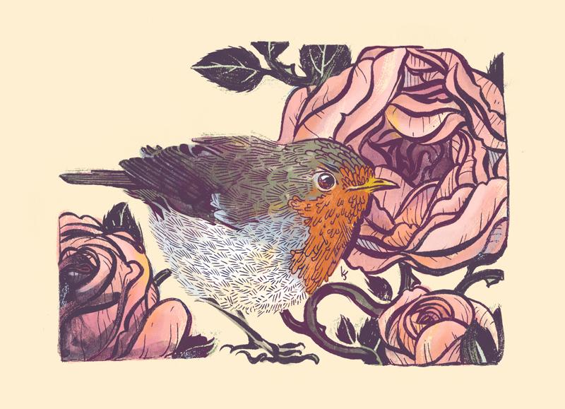 European Robin and English Tea Roses