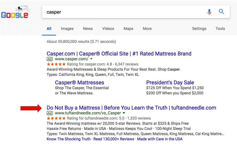 Tuft & Needle's Google Adwords campaign that shows up when people Google Casper.