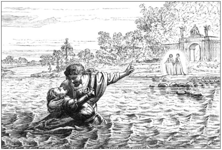 Hopeful helps Christian across the river....