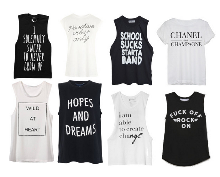 """""""Never Grow Up""""  ,  """"Positive Vibes""""  ,  """"School Sucks""""  ,  """"Chanel and Champagne""""  ,  """"Wild At Heart""""  ,  """"Hopes and Dreams""""  ,  """"Create Change""""  ,  """"Rock On"""""""