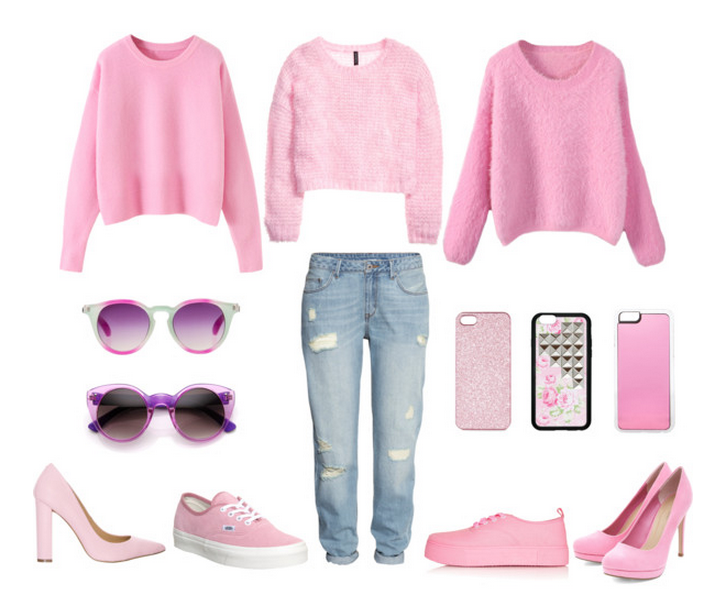 Pink Sweater #1  ,  Pink Sweater #2  ,  Pink Sweater #3  ,  Green/Pink Sunnies  ,  Pink Sunnies  ,  Boyfriend Jeans  ,  Pink Sparkle Phone Case  ,  Floral/Stud Phone Case  ,  Pink Solid Phone Case  ,  Light Pink Heels  ,  Light Pink Vans  ,  Pink Topshop Sneakers  ,  Pink Platform Pumps