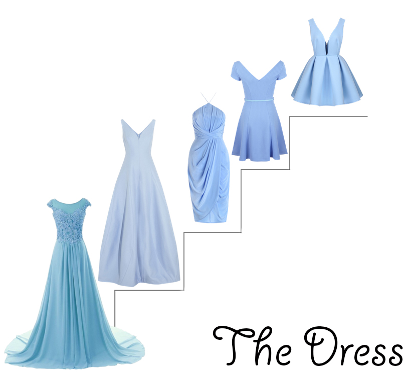 (From Left to Right)   Gown   ,   Floor Length   ,   Cocktail   ,   Skater Dress   ,   Deep V-Neck