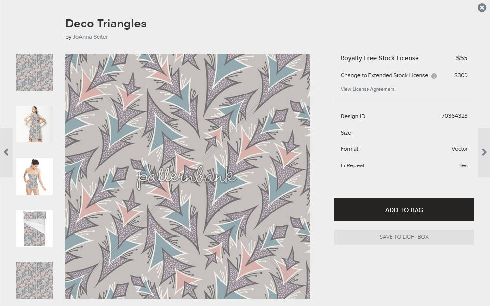 My Deco Triangles print is an Editors pick on Patternbank