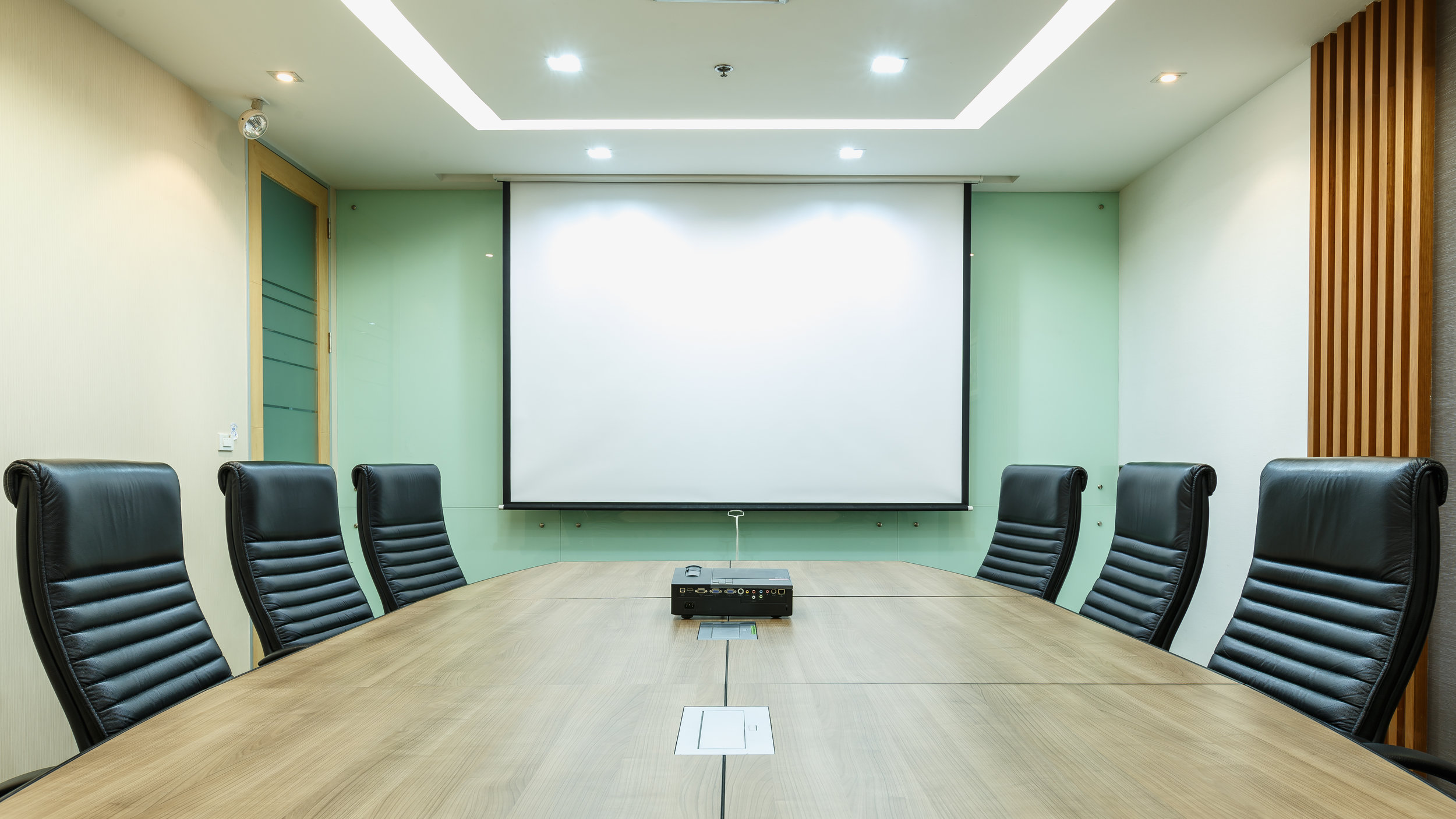 Lighting - Having good, well controlled lighting is essential to a meeting room. With Smart installations solutions you will have full control at a touch of a button and also have it intergrated into other systems. The simplest of these is to link it to your screen or projector so when a video is played the light will dim to half power.