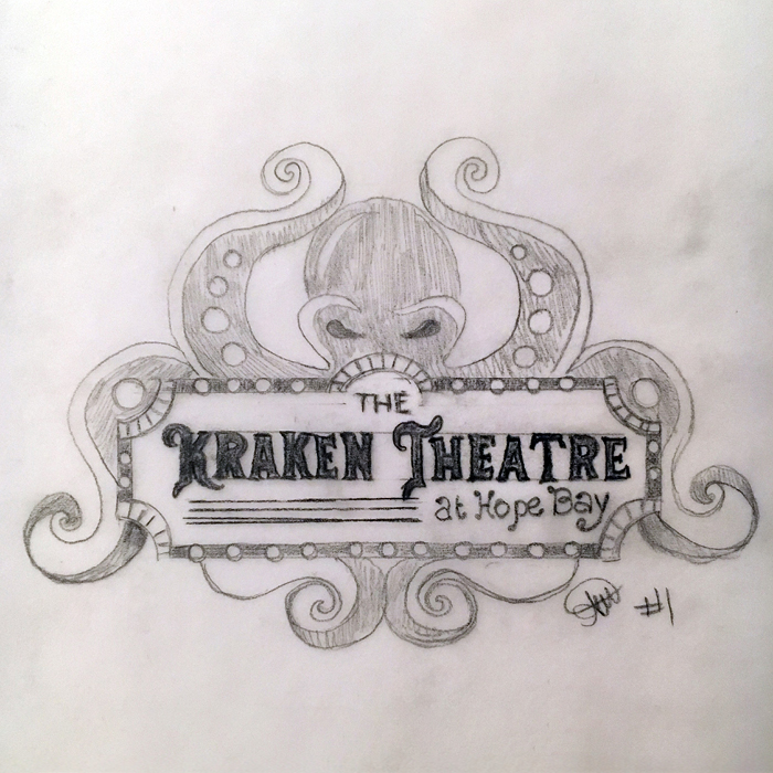 Original sketch of The Kraken Theatre logo