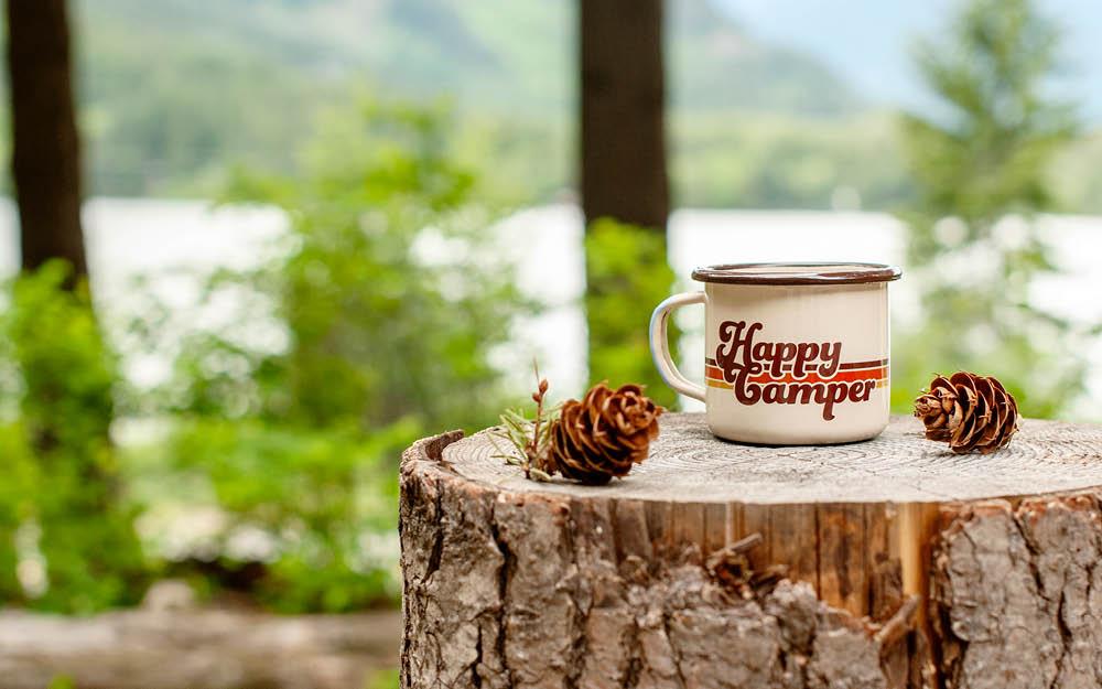 Happy Camper Enamel Camp Mug