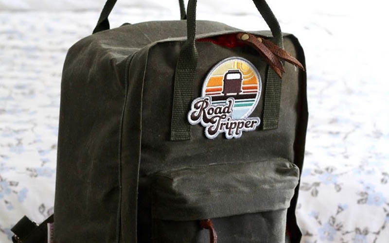 Hook and loop Road Tripper Embroidered Patch by Amanda Weedmark. Bag and photo by  Sugar and Candy