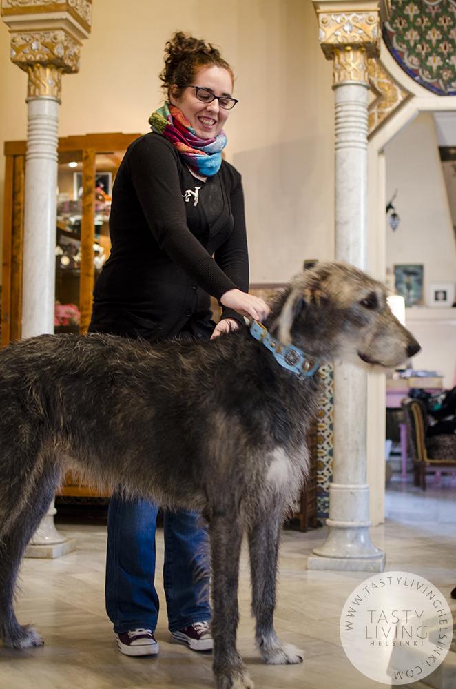 Mireia with   Klea  's Irish wolfhound Grace.