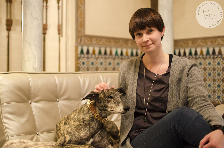 Me at Klea's house with her greyhound Fabiola. Photo  © Mireia Costa Escobar