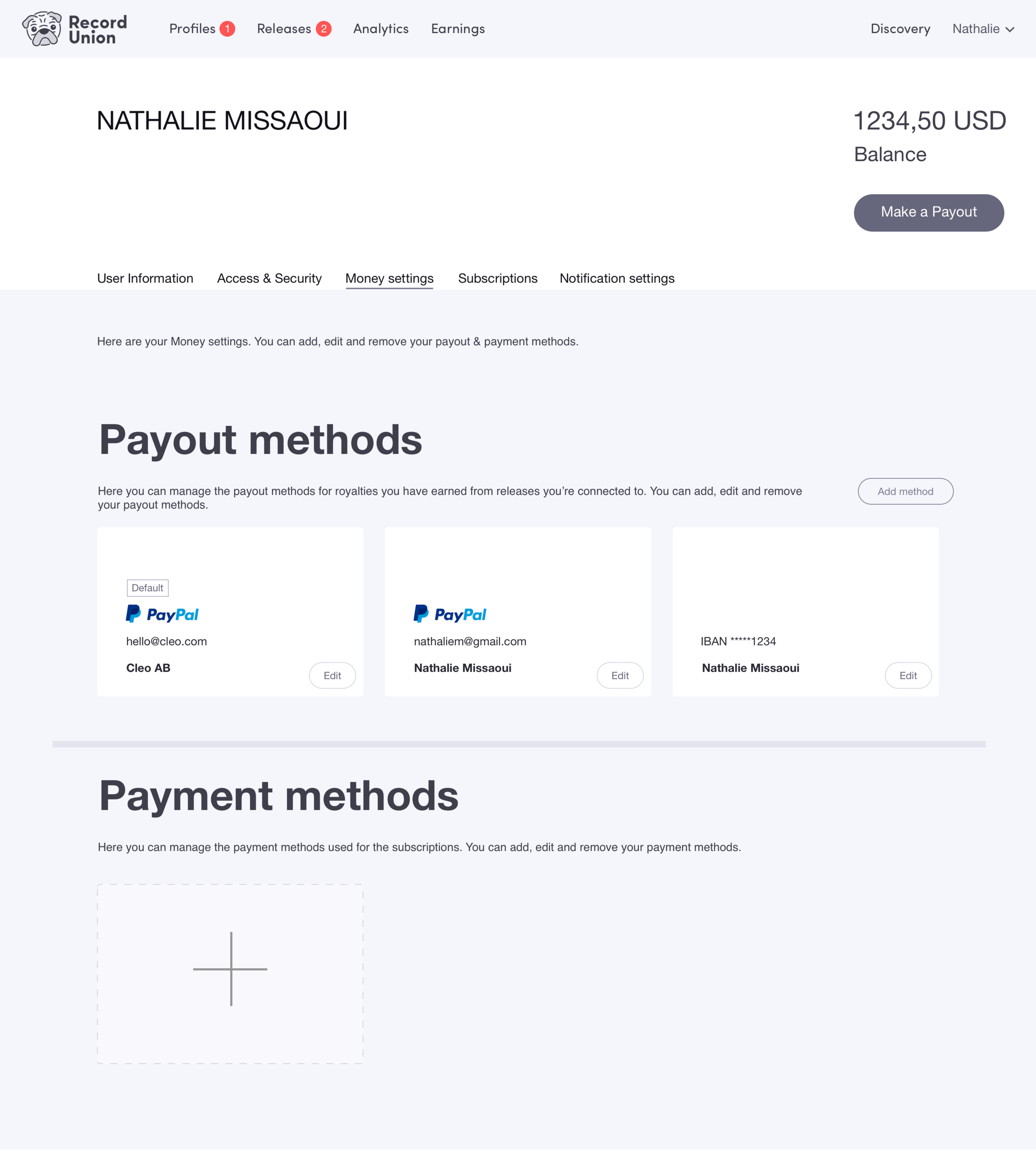Click the image to open InVision prototype for user journey: Add Payout Method.