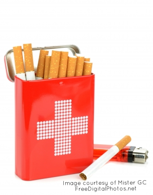 Cigarettes and red cross