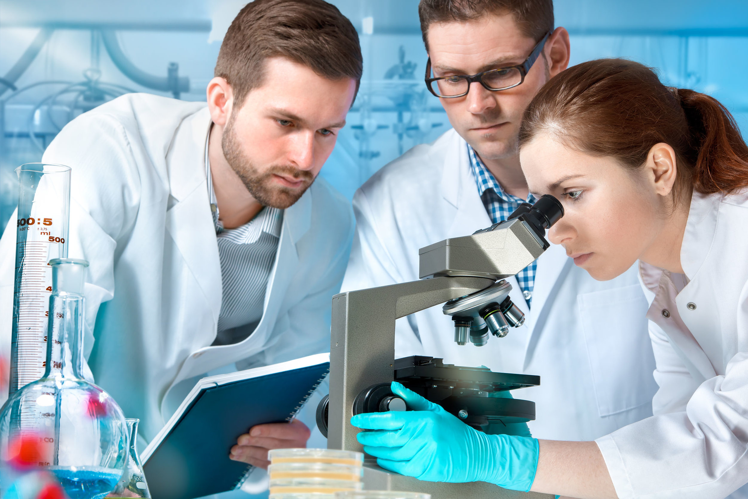 scientists looking through microscope
