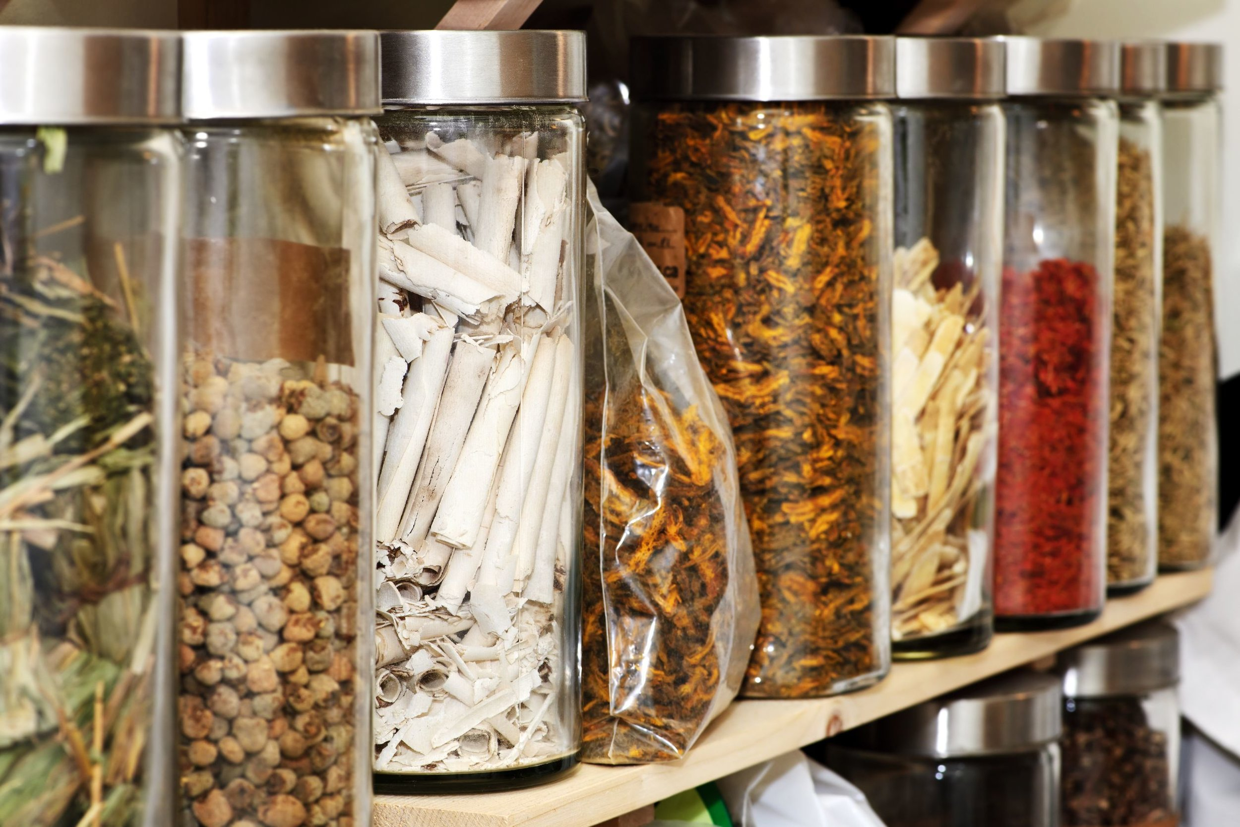 Chinese Herb in jars