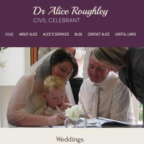 Dr Alice Roughley - Civil Celebrant   Website Design