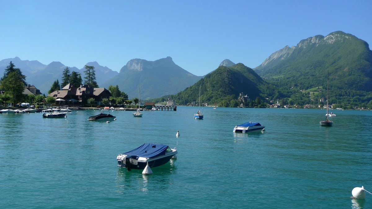 Talloires on the shores of Lake Annecy, the Auberge de Pere Bise to the left of the image