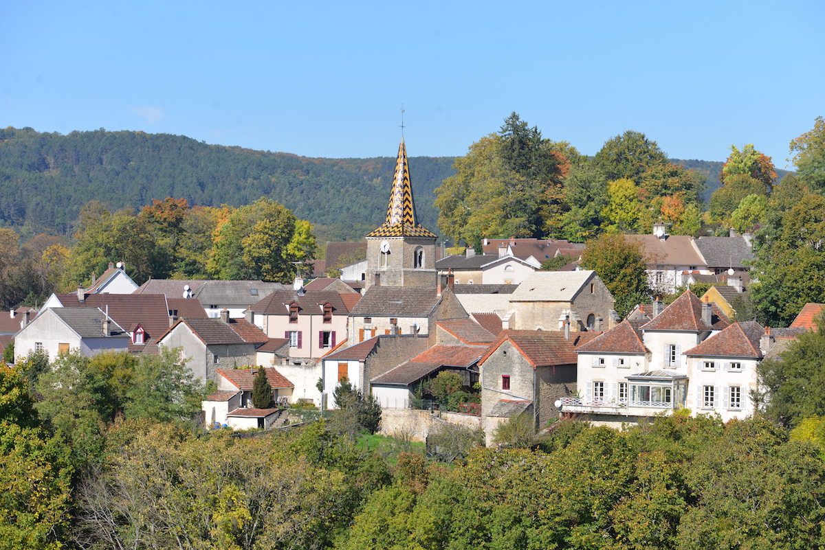 The village of Pernand Vergelesses, Burgundy, seen from the Hill of Corton