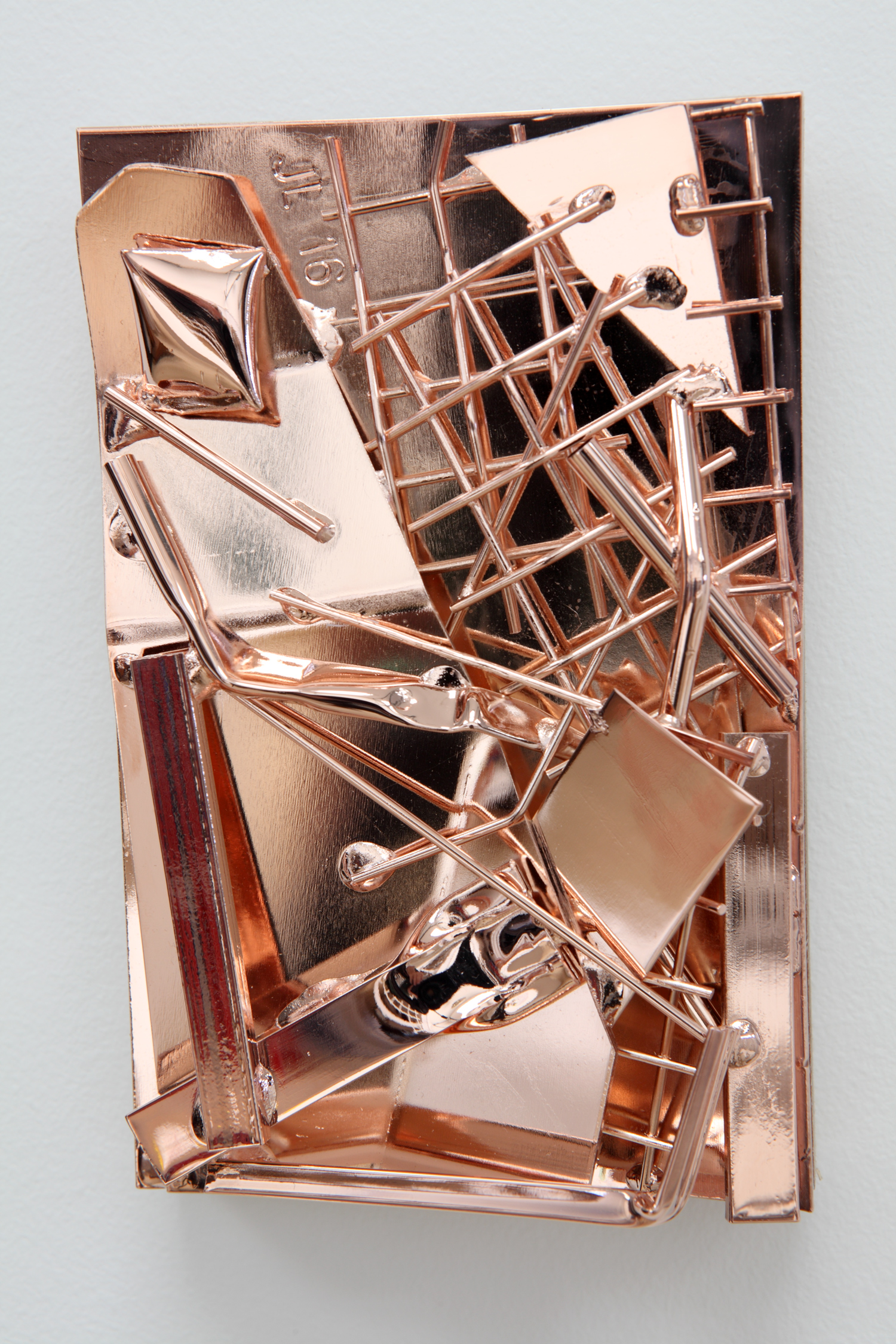 Self Portrait and Studio, 2016, rose gold coated steel, 15 x 10cm