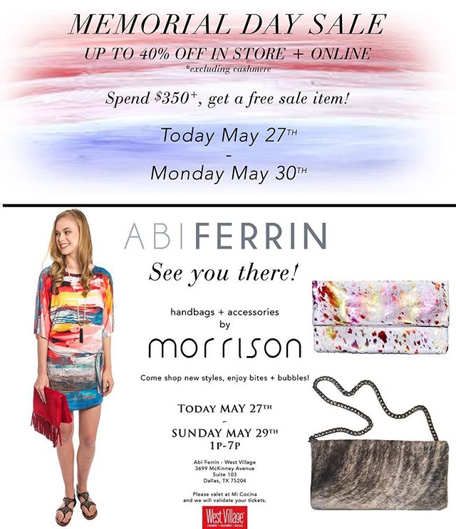 Today!! @westvillage_dallas @abiferrin #custom #leather #handbags #shop #memorialdaysale #memorialday #clutch #houseofmorrison #fashion #shopping #local #dallas #designer