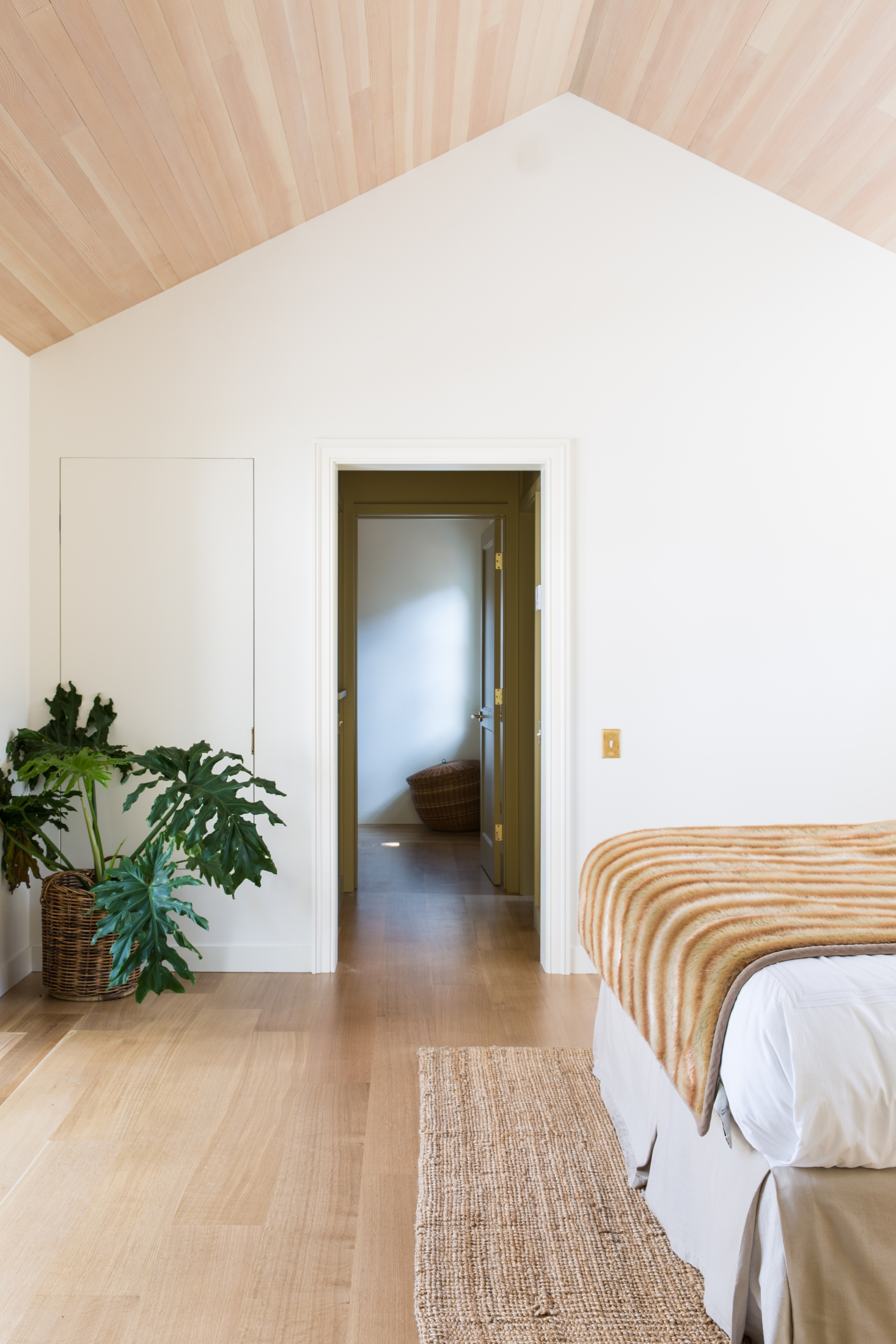 Light wood floors paired with light wood ceilings. Notice how this doesn't feel heavy despite all of the wood in the room.  Photo Source