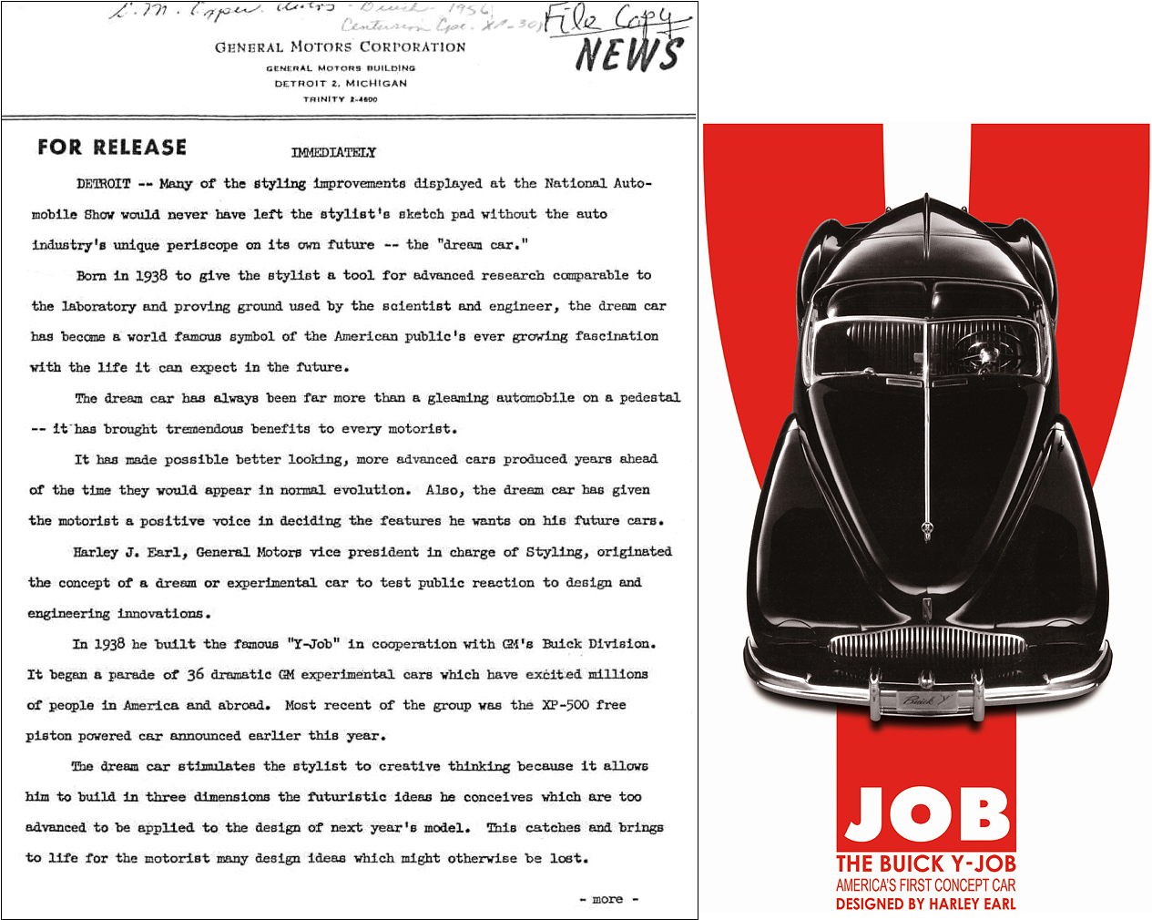 This rare and never before published press release documents Pioneer-Earl's game changing new business paradigm. While doing research in GM Design, at the GMTC in 2004, Richard unearthed a trove of hidden archival evidence (like this historic press release) on the auto industry's greatest era. Like to read the entire 3-pg press release, send us an  email .