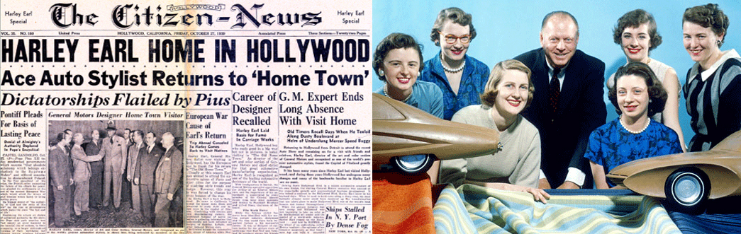 Harley Earl was the auto industry's first  Ace Auto Stylist. Picture on right of HJE with some top female auto stylists in GM Styling in mid-1950s.