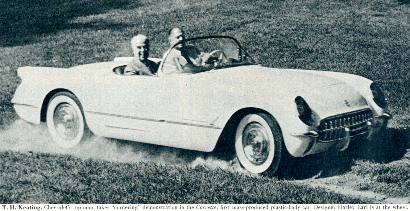 """LOOK  magazine article,states,  Harley and Thomas Keating, Chevrolet's top man, takes """"cornering"""" demonstration in the Corvette, first mass-produced plastic-body car. Designer Harley Earl is at the wheel."""