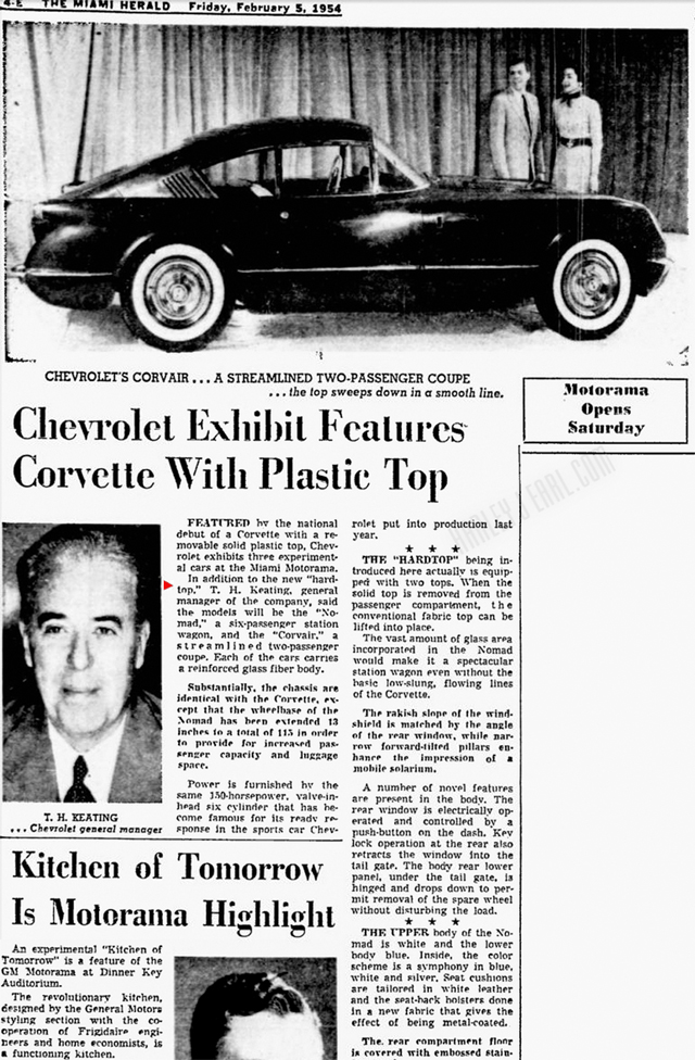 In as far as important new concepts (like the '54 Corvair sister of the Corvette featured above), Harley dealt directly with the Chevrolet Division's high boss, Tom Keating.