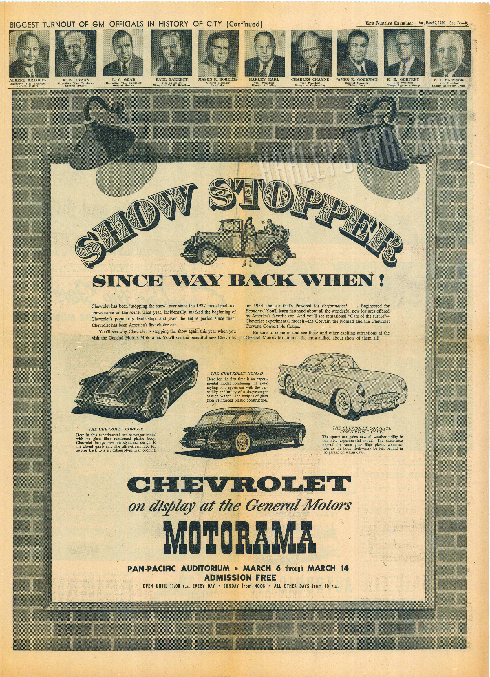 """This full-page ad in the  Los Angeles Examiner  demonstrates HJE's first Chevrolet car design for the bowtie division back in '27, with flapper girls, and 26-years later he's releasing modern well-engineered vehicles most Americans find, """"drop-dead gorgeous"""" and are a quantum leap from any production cars made in the 1920s!"""